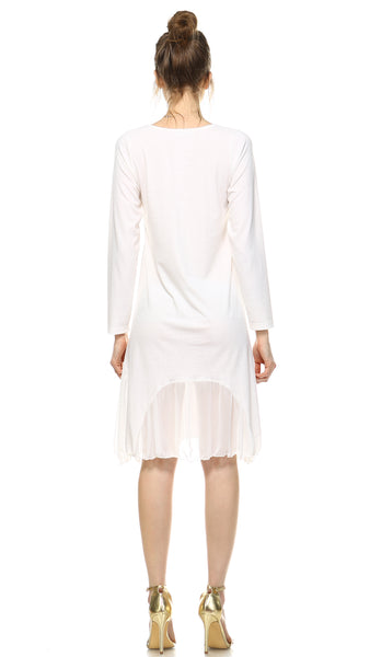 Bottom Scooped Long Sleeve Tunic Dress - Shop Lev