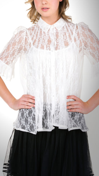 Short Sleeve Lace Blouse - Shop Lev