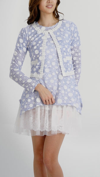 Destroyed Polka Dot Short Jacket with Lace Trim - Shop Lev