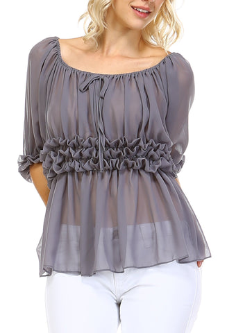 Fluffy Chiffon Top - Shop Lev