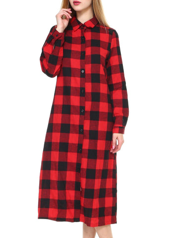 Women big plaid long maxi button-down long sleeve cardigan - Shop Lev