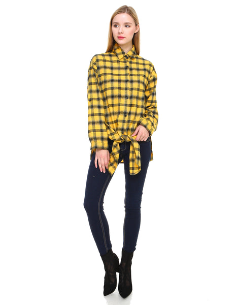 Plaid long sleeve button down shirt classic fit with front tie and side slits - Shop Lev