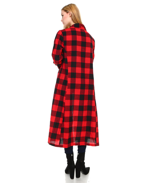 Women plaid long sleeve open maxi cardigan - Shop Lev