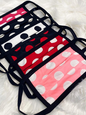 6 Pack Polka Dot Print Washable Cotton Face Mask