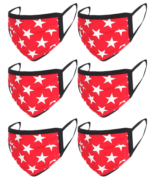 6 Pack Star Print Washable Cotton Face Mask
