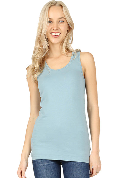 Women Round Neck Daily Racerback Classic Cotton Blend Longline Tank Tops