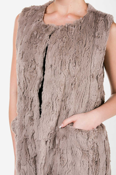 Women's Faux Fur Long Vest with Pocket on the Front - Shop Lev