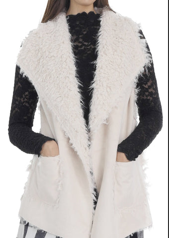 Women's Faux Fur Relexing Vest with Synthetic Swede - Shop Lev