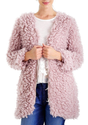 Soft Poodle Faxu Fur Zip-up Jacket - Shop Lev