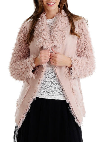 Shaggy Faux Fur Jacket with Swede Body - Shop Lev