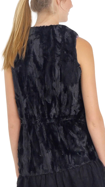 Faux Fur Open Vest with Lace Trim - Shop Lev