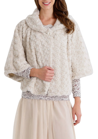Rossette Faux Fur Cape Jacket - Shop Lev