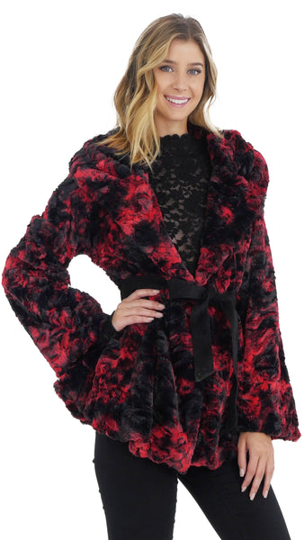 Faux Fur Tie-Dye Jacket with Belt - Shop Lev