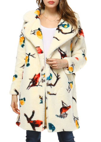 Women Faux Fur Bird Print Long Coat - Shop Lev