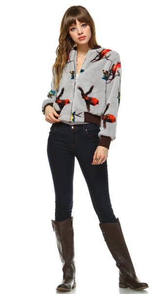 Women Faux Fur Bird Print Bomber Jacket - Shop Lev
