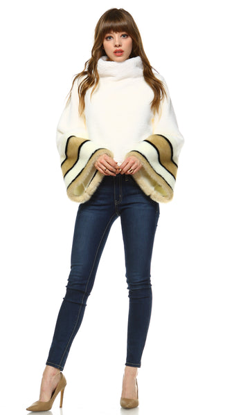 Cowl Neck Bell Sleeve Faux Fur Top - Shop Lev