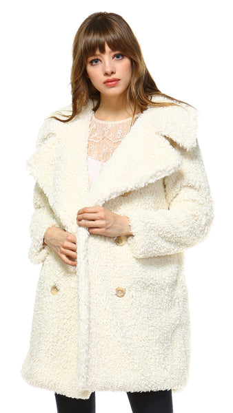 Faux Fur Double Breasted Shearling Coat - Shop Lev