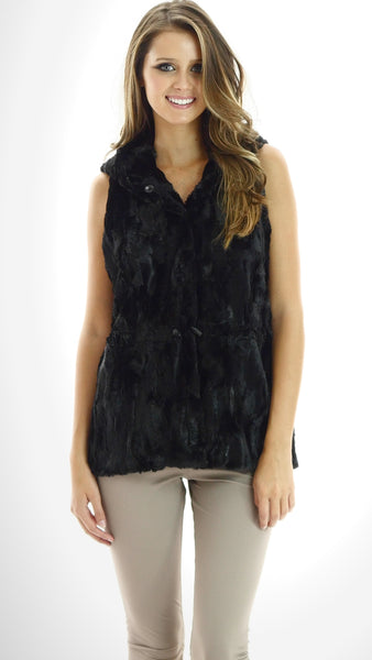 Faux Fur Casual Hoodie Vest with Elastic Strings - Shop Lev
