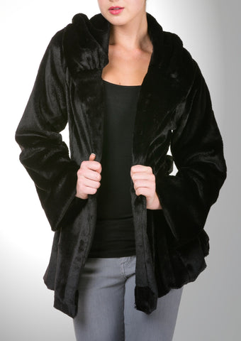 Solid Faux Fur Open Jacket with Belt - Shop Lev