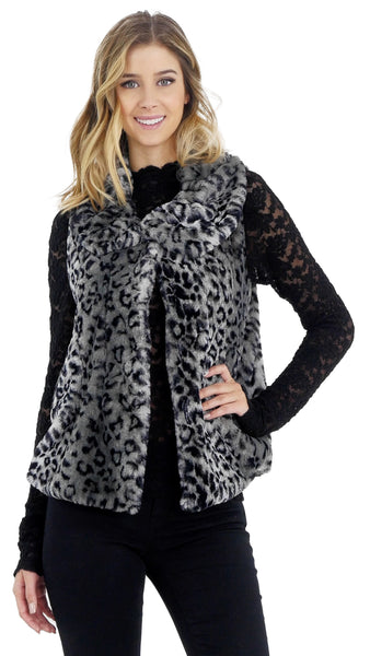 Flare Faux Fur Button Down Vest - Shop Lev