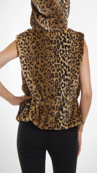 Faux Fur Short Hoodie Vest with Cinched Waist - Shop Lev