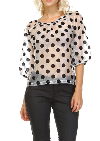 Women's Velvet Polka Dot Top - Shop Lev