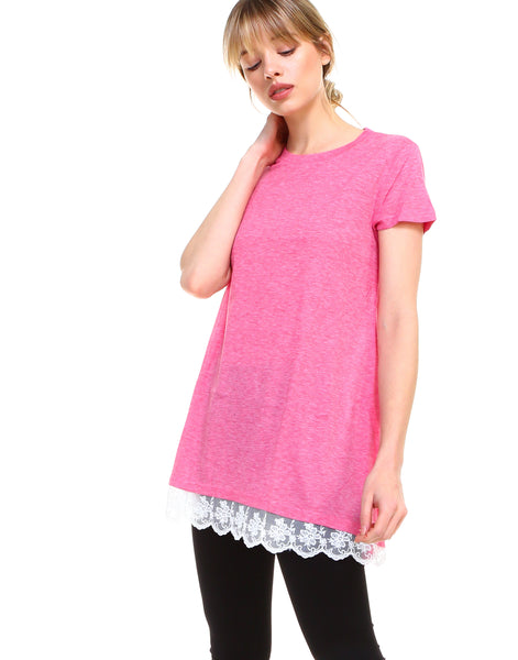 Women lace trim short sleeve casual flare tunic tops cotton blend - Shop Lev