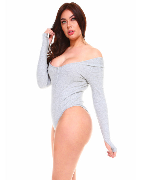 Solid ribbed cotton sexy stretchy long sleeve bodysuit with thumb holes - Shop Lev