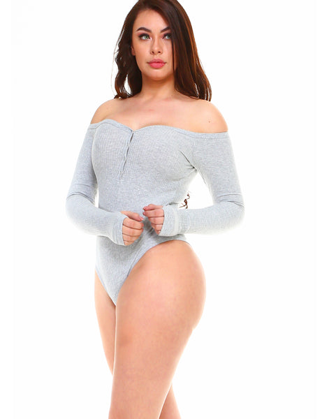 Solid ribbed cotton sexy off the shoulder long sleeve stretchy bodysuit - Shop Lev