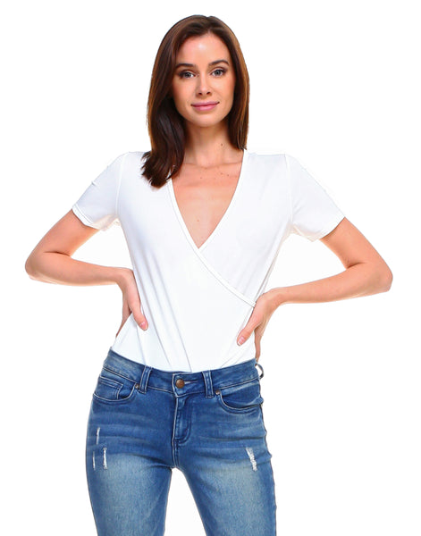 Solid silky front cross wrap short sleeve bodysuit - Shop Lev