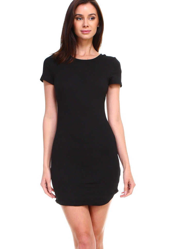70c02ffaf17 ... Women's basic cotton round neck casual solid short sleeve bodycon long  tunic top dress - Shop ...
