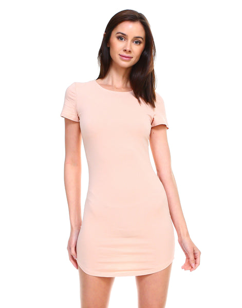 Women's basic cotton round neck casual solid short sleeve bodycon long tunic top dress - Shop Lev