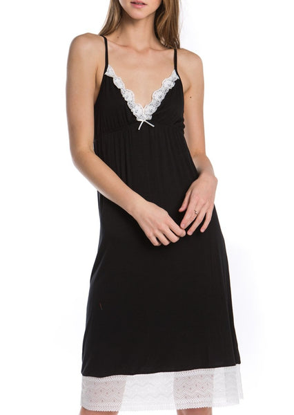 Lace Trim Vneck Knit Full Slip with adjustable straps - Shop Lev