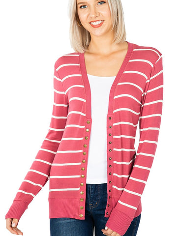 Women V Neck Snap Button Long Sleeve Sweater Cardigan