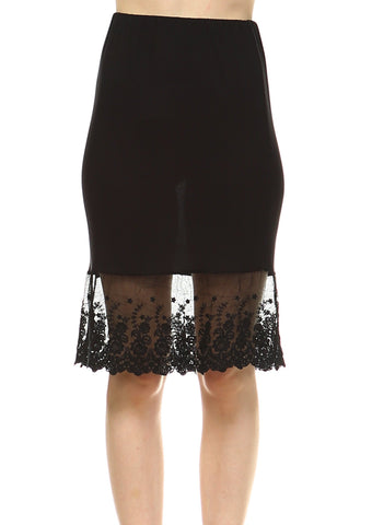 Women's Knit Lace Skirt extender Half Slip for lengthening and layering - Shop Lev