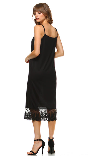 Women's Long Solid Knit Lace Full Slip Cami Dress Extender With Adjustable Straps - Shop Lev