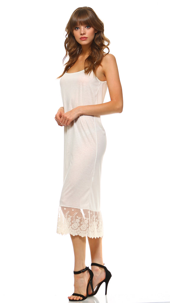 7fddbd502bee ... Women's Long Solid Knit Lace Full Slip Cami Dress Extender With  Adjustable Straps - Shop ...