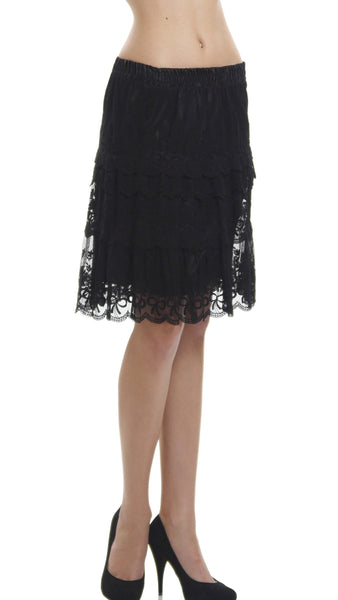 Women's Short Mesh and Ribbon Lace Ruffles Skirt - Shop Lev