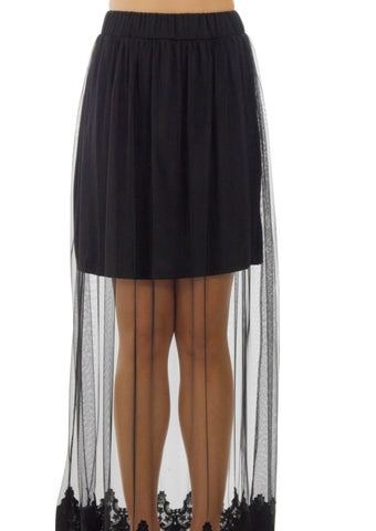 Women Single Layer Mesh Long Skirt with Lace Trim on The Bottom - Shop Lev