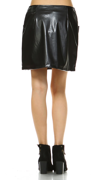 Women's Two Pocket Faux Leather Mini Skirt - Shop Lev