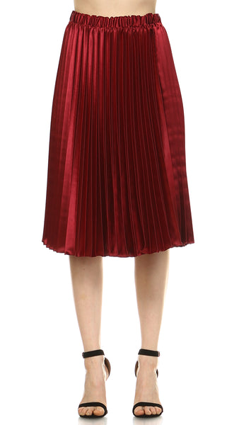 Pleated Satin Skirt - Shop Lev