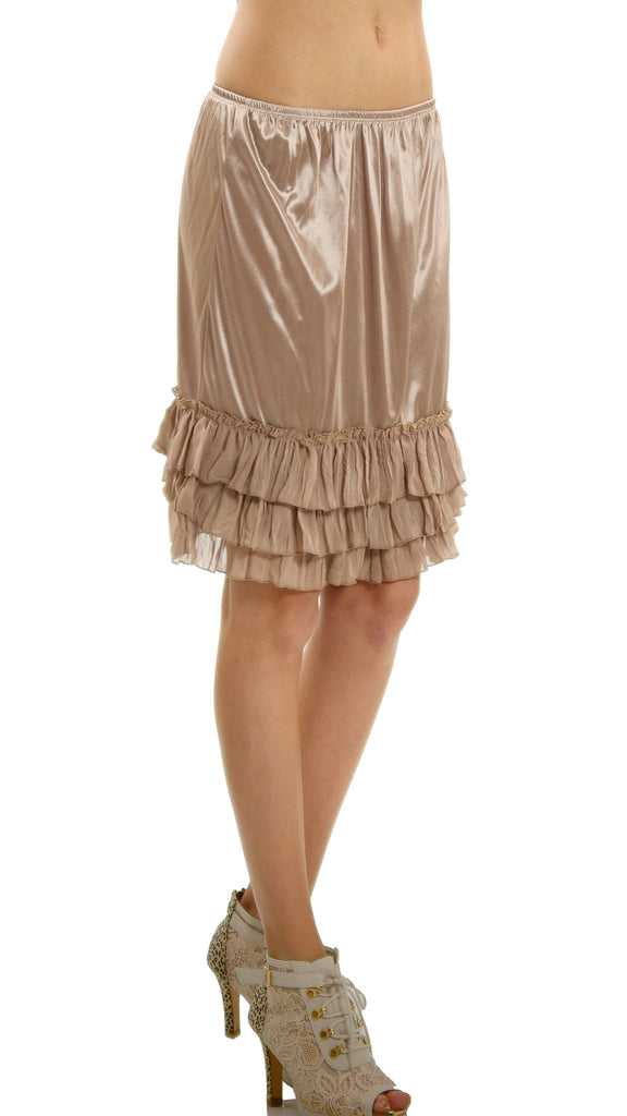 5ec9b6768264 ... Women's Satin Half Slip Skirt Extender with three tiered Ruffle Hem -  Shop ...