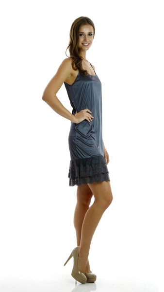 Women double lace bottom satin full slip - Shop Lev
