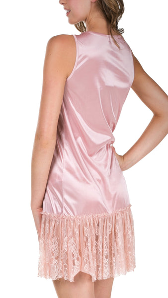 Melody Satin Tank Full Slip with Lace Bottom (mini length) - Shop Lev