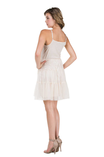 Women's Camisole Short Slip Dress with Tiered Mesh Skirt and Adjustable Straps - Shop Lev