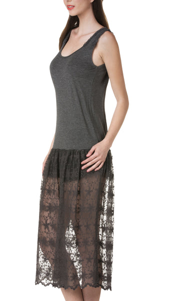 Tank Full Slip Dress with Long Lace - Shop Lev