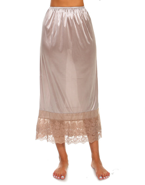 "Long lace satin half slip skirt extender - 34"" length - Shop Lev"