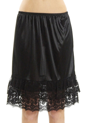 "Melody double lace satin half slip skirt extender - 21"" length - Shop Lev"