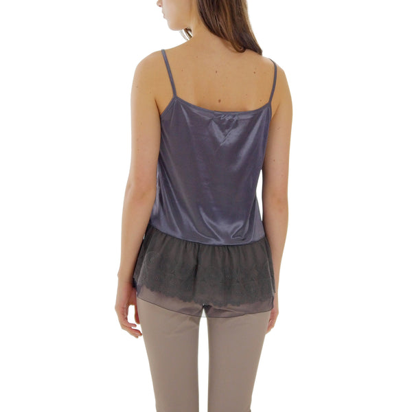 Satin Camisole Top Extender with circle lace bottom - Shop Lev