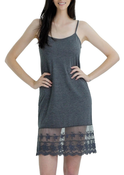 Women lace hem knit full slip with adjustable straps for top/tunic extender - Shop Lev